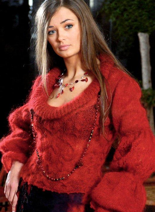 модели из тонкого мохера Красная кофточка мохеровая Mezginiu